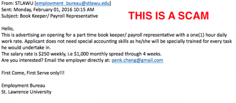 Screen shot of a scam email advertising a high paying job